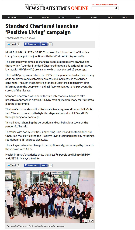New Straits Times: Kid Chan & Standard Chartered